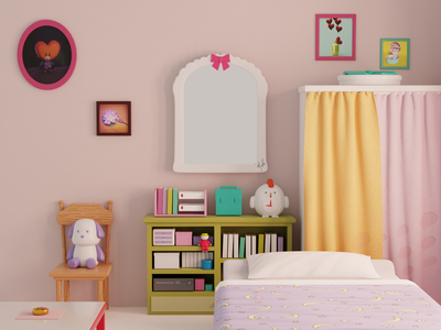 Serena's / Usagi's Room Part ll 🌙 anime 3ddesign 3d modeling room fanart render illustration sailormoon