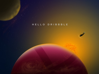 Hello Dribbble! space maldives creative planet superhero painting debut