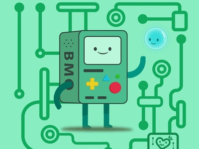 BMO & Bubble character game adobe drawing green bubble adventure time cartoon illustration digital art digital artwork digitalart art adobe illustrator
