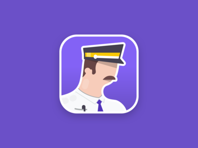 Metro operator app icon mustache logo mobile game character illustration controller subway metro icon app ui