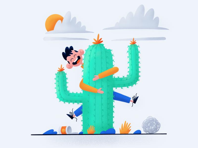 Painful Love 🌵 procreate app ipad desert happy character cactus illustration procreate ipadpro