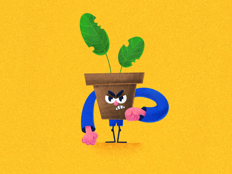 Angry Mr. Pots 😠 textures character design angry plant pot character characterdesign illustration procreateapp procreate art procreate app procreate