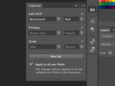 Photoshop Typecase Extension typeface photoshop ps cs6 extension browse typefaces fonts type collections group sets edit text typecase design dark app application new settings black panel adobe