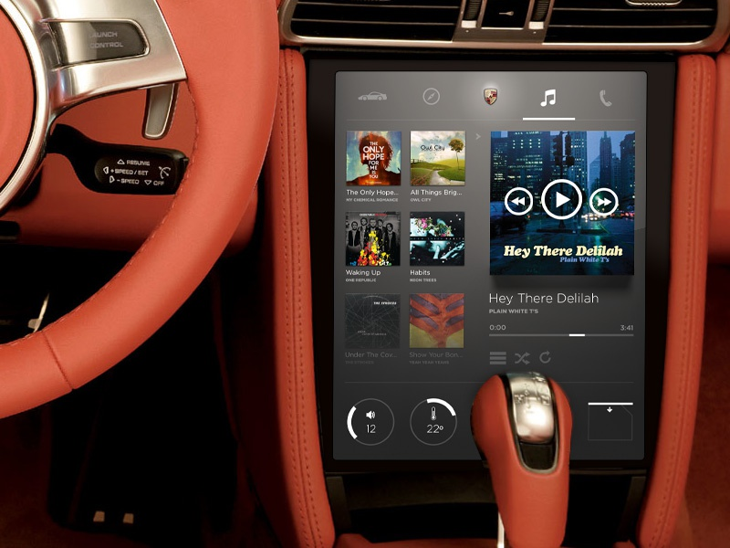 Car center console software car console porsche cluster automobile ui photoshop design concept flat music grid controls