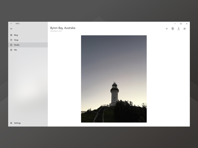 Imagining VSCO for Desktop, Windows - Photo details gallery windows app edit photo vsco minimal redesign concept fluent