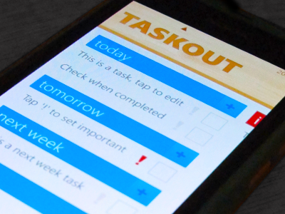 Taskout app windows phone by made for desktop dribbble taskoutlumia reheart Images