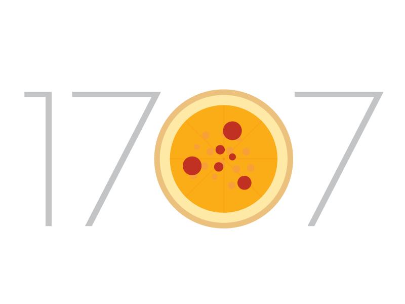 1707 Pizza nomnomnom pizza branding logo typography