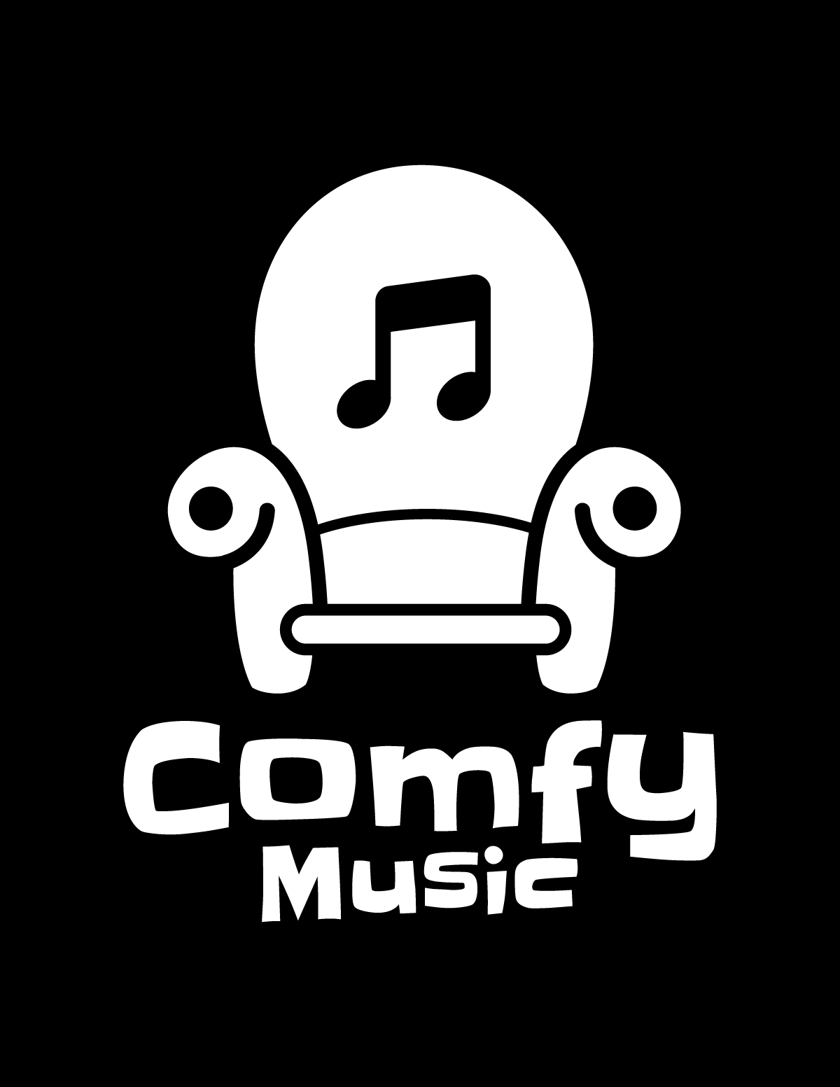 Comfy music logo white on black