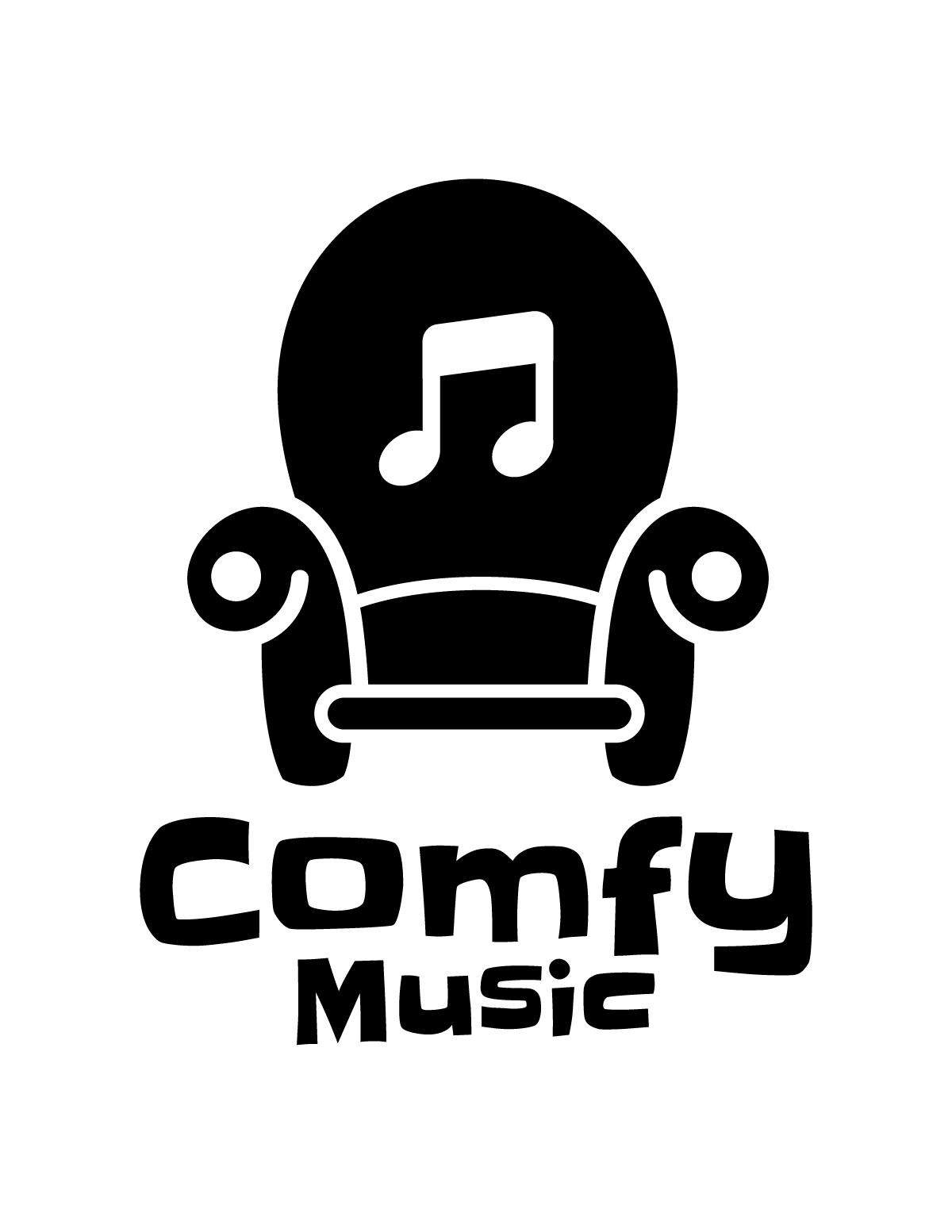 Comfy music logo black on white