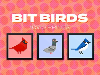 Bit Bird Prints retro prints pixel art bit birds