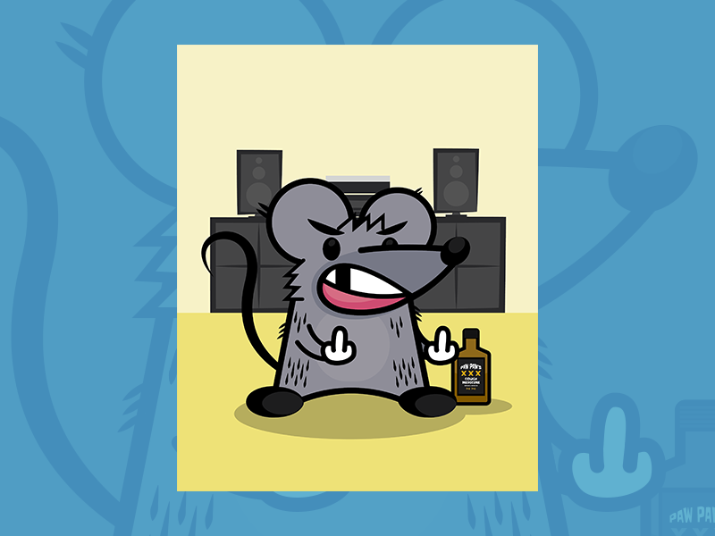 Rad Rat Poster booze rad rat print poster character illustration