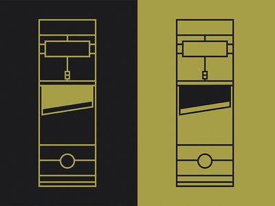 Golden Guillotine thin black gold minimal records guillotine lapel pins pins