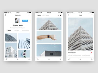 Unsplash - Photo App Concept | Free .Sketch #3 app freebie clean ux .sketch free ressource unsplash app minimalism minimal photo ui