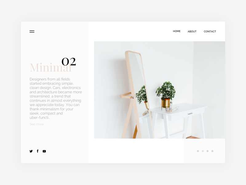 Minimal Website Concept | Free .Sketch #7