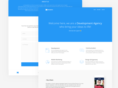 Noosphere - Landing page ux ui sketch web webpage flat minimal website clean simple blue landing page