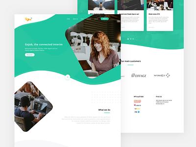 GoJob - Landing Page Redesign white green clean web design ux ui minimalism minimal grid website layout landing page