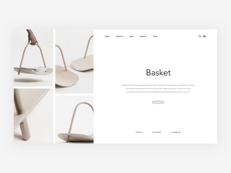 Basket - Website Header minimalist photo user typography illustration card grid concept web free layout landing page dailyui ressource app freebie ux minimal clean ui