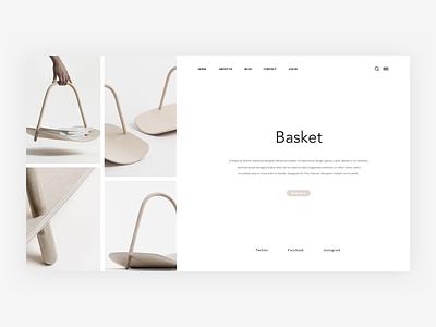 Basket - Website Header minimalist photo user typography illustration card grid concept web free layout landing page dailyui ressource app freebie ux minimal clean ui