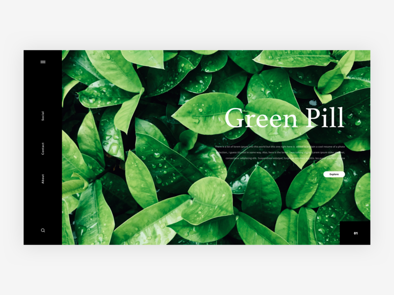 Green Pill - Website Exploration freebie ressource resource dailyui dailyui01 scroll header animation white black green concept exploration app grid landing page web webdesign layout typography font google illustration logo icons ui ux design simple elegant clean minimal minimalism minimalist