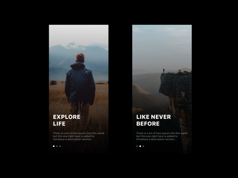 Explore Life - Onboarding onboarding design blue user concept layout dailyui minimalism ressource app freebie ux minimal white black dark simple clean ui framer