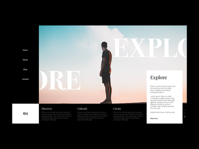 Explore - Header black concept user gif layout dailyui minimalism app ux typography design illustration freebie dark minimal header website landing page clean ui