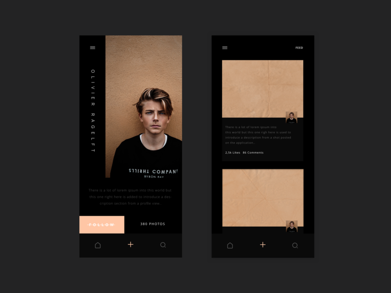 Photo - Social App (Profile & Feed) framer ios profile simple dark black grid typography illustration user concept layout dailyui ressource minimalism freebie ux minimal clean ui