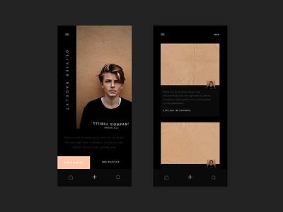 Photo - Social App (Profile & Feed) framer ios profile simple dark black grid typography illustration user concept layout dailyui ressource minimalism freebie ux minimal clean ui