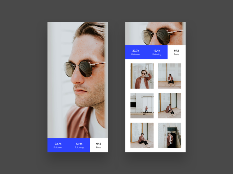 Profile Exploration - Modal Ui (WIP) landing page follow color unsplash material design ios photo blue framer typography concept user ux app minimalism layout dailyui minimal clean ui