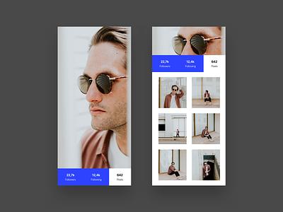 Profile Exploration - Modal Ui (WIP) landing page follow color unsplash material design ios photo blue framer typography concept user ux app minimalism layout dailyui minimal clean ui
