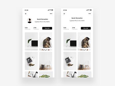 User Profile - Redesign illustration typography concept landing page ui ux unsplash layout app concept photo user dailyui 001 ressource framer profile minimalism minimal dailyui clean app