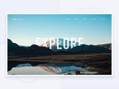 Explore - Simple header with Parallax header webdesign web branding sketch logo design gif animation typography concept landing page layout dailyui minimalism app ux minimal clean ui