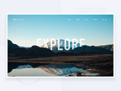 Explore - Simple header with Parallax header webdesign web branding sketch logo design gif animation typography concept landing page layout dailyui minimalism app ux minimal clean ui