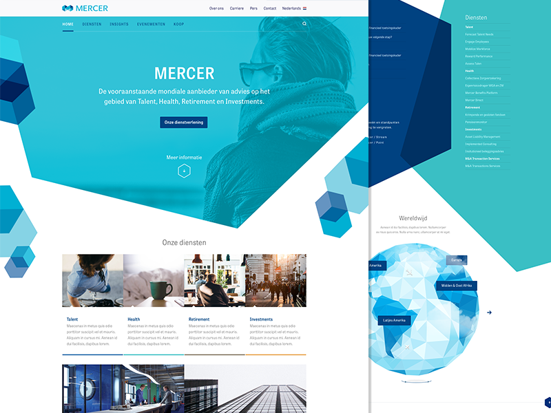 Mercer web design homepage rectangles colors photography geometry site