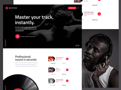 E-Mastered headphone upload red tracks sound page landing music