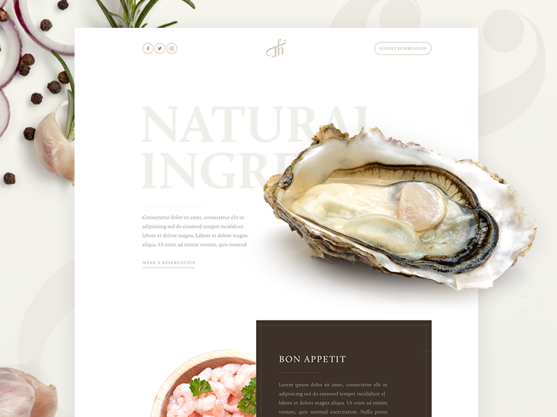 Restaurant web design clean food page landing restaurant