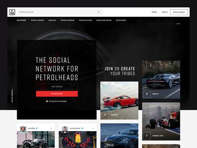 Drivetribe car cards typography photography network social dark landing cars drivetribe