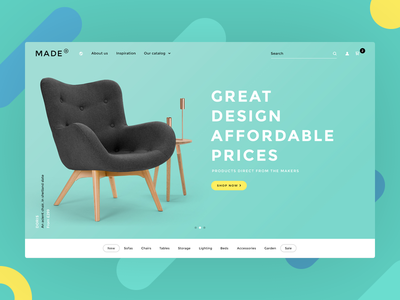 Made chair page web design typography clean colors home landing furniture
