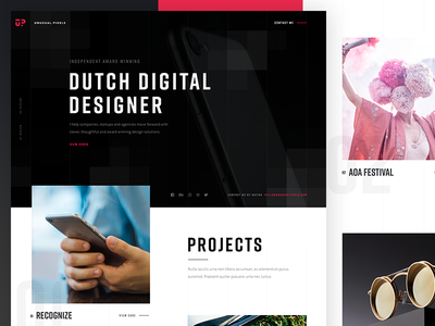 Unusual Pixels projects typography photography portfolio page landing design website pixels unusual