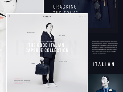 Caruso shopping different typography web design page landing fashion