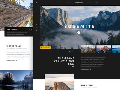Yosemite big clean typography dark landing photography yosemite nature