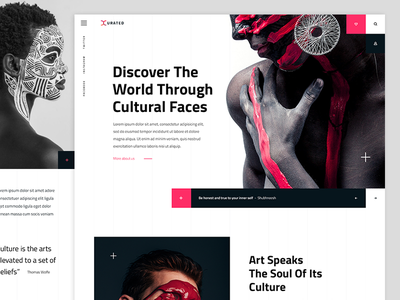 Cultural Faces art faces cultural history grid red landing typography page design web
