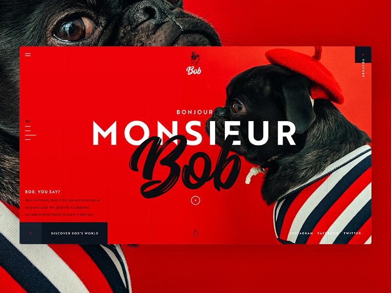 Monsieur Bob digital photoshop typography design page landing red black dog bob