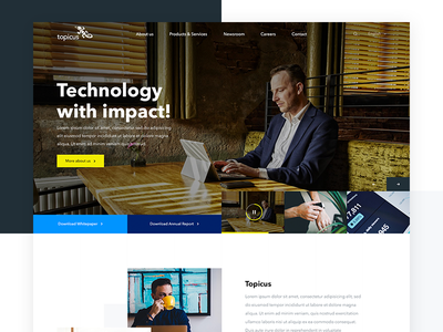 Topicus white typography video header impact technology clean landing