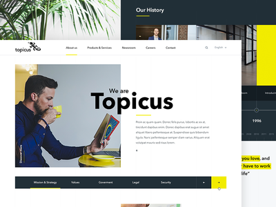 About Topicus timeline yellow design web about technology company clean landing
