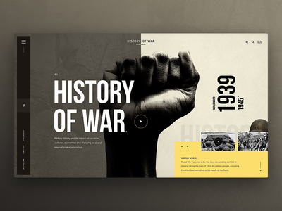 History of War fist typography concept black war history
