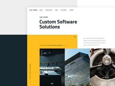 Custom Software Solutions corporate business black yellow coding software development technology shapes
