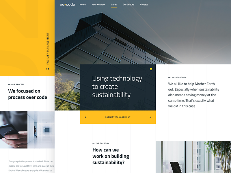 Sustainability clean sustainability technology case detail page web design photoshop landing company development