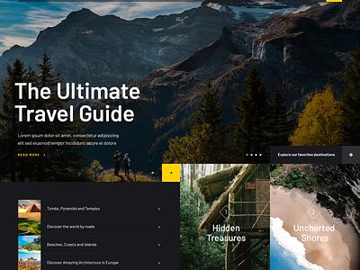 Traveloo yellow web design lists photography dark travel