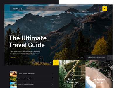 Traveloo yellow web design lists photography dark travel