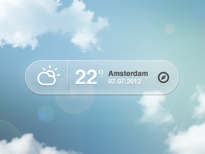 Weather Pop-up weather climacons pop-up sunny cloudy whatever amsterdam sunflare blue button temperature